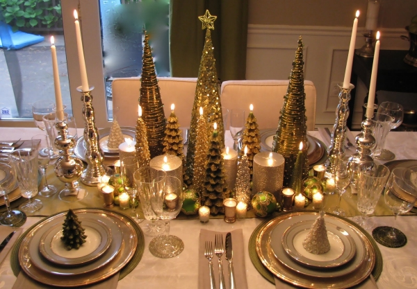 christmas table decorations silver and gold