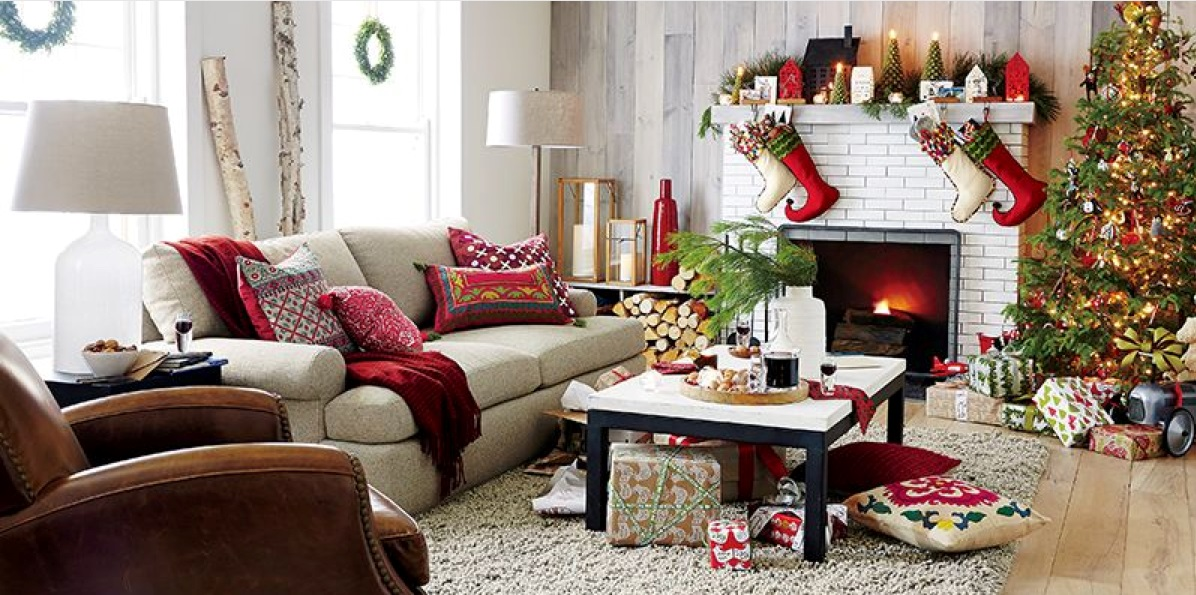 Celebrate the holidays with crate barrel girls of t o for Xmas living room ideas